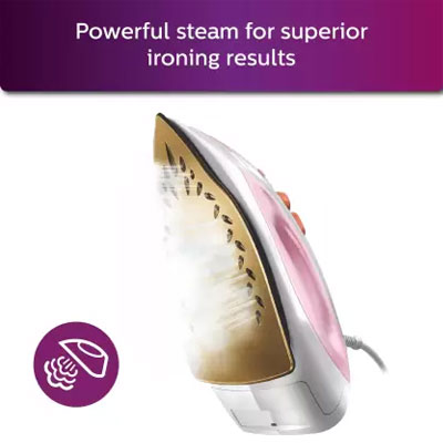 Philips GC1920 Non-Stick Soleplate Steam Iron 1440W (White & Pink)