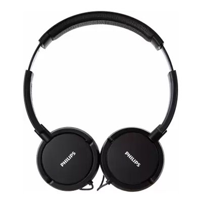 Philips SHL5005/00 Wired Headset with Mic (Black, On the Ear)