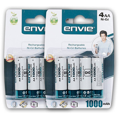Envie 8 Nos of AA 1000 mAh Rechargeable Ni-Cd Battery