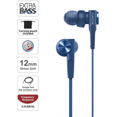 Sony XB55AP Wired Headset with Mic (Blue, In the Ear)