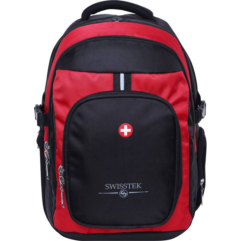 Swisstek Laptop Back Pack 25 L Laptop Backpack (Black, Red)