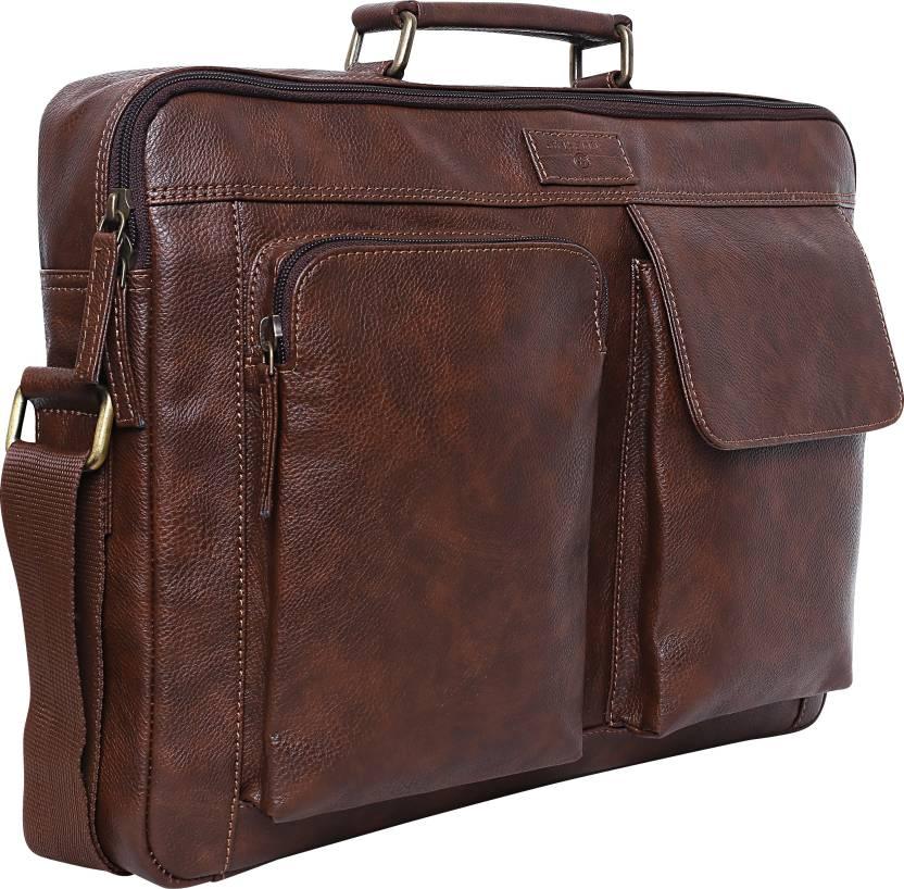 Swisstek 15 inch Inch Laptop Tote Bag (Brown)-3