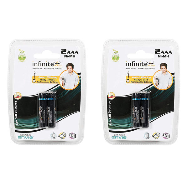 Envie 1100mah 2nos AAA Infinite Plus Rechargeable Ni-MH Battery