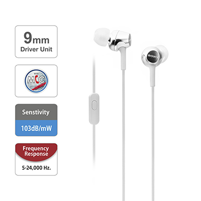 Sony MDR-EX155AP Wired Headset with Mic (White, In the Ear)