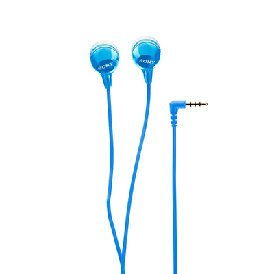 Sony MDR-EX15AP Wired Headset with Mic (Blue, In the Ear)