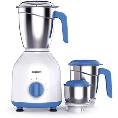 Philips HL7555 600 W Mixer Grinder (White, Blue, 3 Jars)