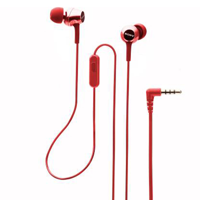 Sony MDR-EX155AP Wired Headset with Mic (Red, In the Ear)