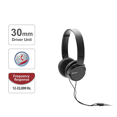 Sony MDR-ZX110AP Wired Headset with Mic (Black, On the Ear)
