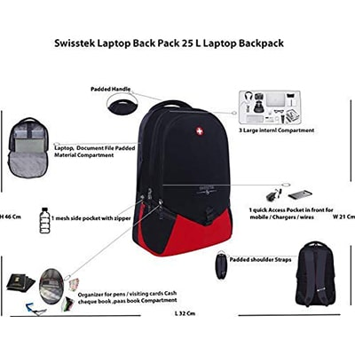 Swisstek BP-020 Laptop Back Pack Black Red-3