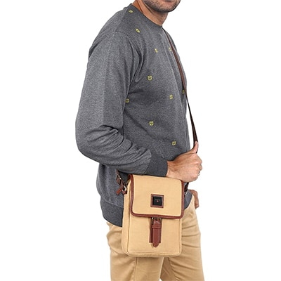 Swisstek Beige Cross body Canvass Sling Bag (SB013)-2