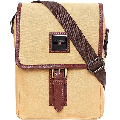 Swisstek Beige Cross body Canvass Sling Bag (SB013)