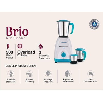 Crompton Brio 500-Watt Mixer Grinder with 3 Jars