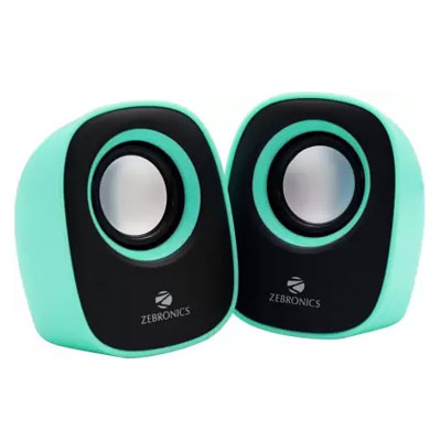 Zebronics ZEB - PEBBLE NEW Laptop/Desktop Speaker (Green, 2.0 Channel)