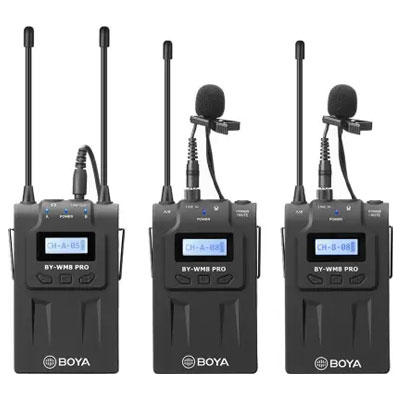 Boya BY-WM8 Pro-K2 UHF Dual Channel Wireless Camera Microphone