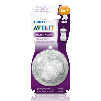 Philips Avent Natural Teat 4 Holes Fast Flow for 6 Months and Above (Pack of 2)