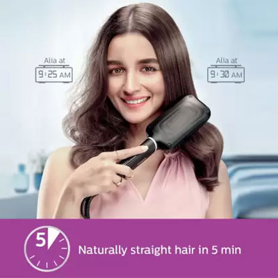 Philips BHH880/10 Heated Straightening Brush with Thermoprotect Technology Hair Straightener