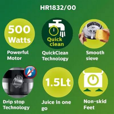 Philips Viva Collection HR1832/00 1.5-Litre 500W Juicer (Ink Black, 1 Jar)