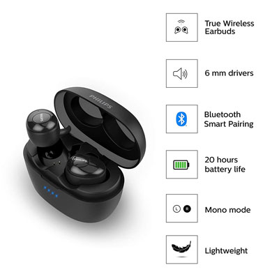 Philips UpBeat SHB2505 Bluetooth True Wireless Earbuds Headphones