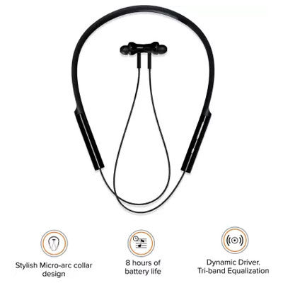 Mi Neckband Bluetooth Earphones with Dynamic Bass Works with Voice Assistant