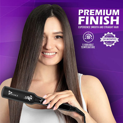 SYSKA HS2020 Wide Plate Keratin plus Ionic Hair Straightener (Black)
