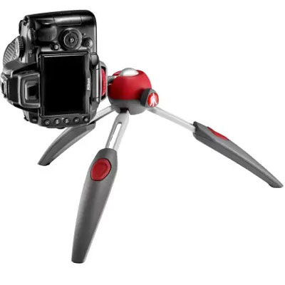 Manfrotto PIXI EVO 2-Section Mini Tripod, Red, Light and Compact (MTPIXIEVO-RD)