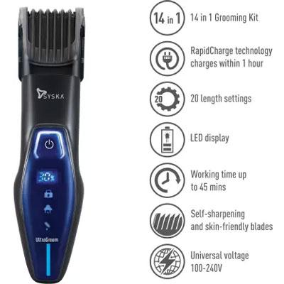 Syska HT5000K UltraGroom Runtime: 45 min Grooming Kit for Men (Black)