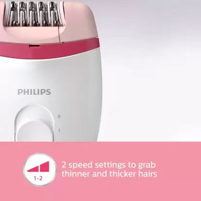 Philips BRE235/00 Corded Compact Epilator (White and Pink) for Gentle Hair Removal at Home