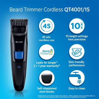 Philips QT 4001 Runtime: 45 min Trimmer for Men