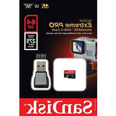 Sandisk Extreme Pro Micro SDXC 64 GB 275MB/S Class 10 U3 UHS-II + Adapter USB 3.0-1K-7K74-0S04