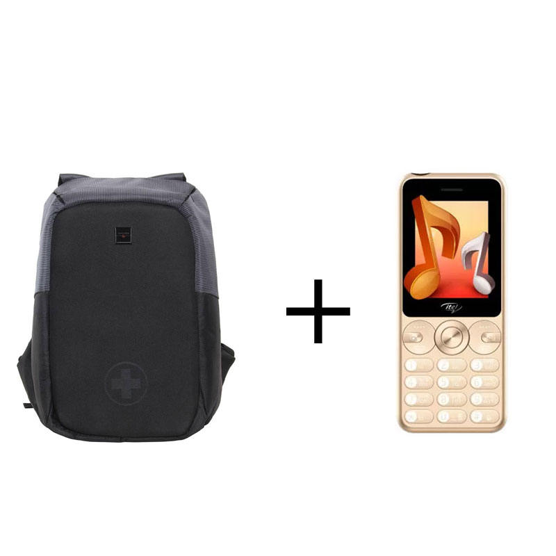 Buy Swisstek BP-012 Laptop Backpack (Black, Grey) & Get Itel IT5092 Muzik 400 Dual Sim Mobile (Open Box) Free