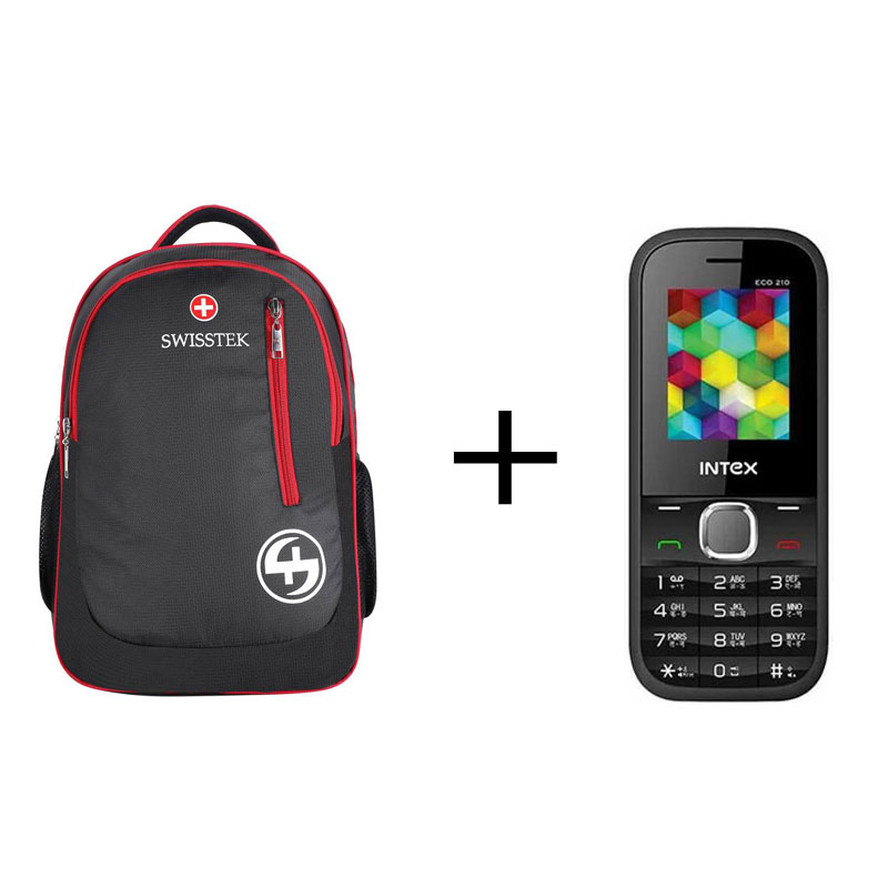 Buy Swisstek BP-017 Laptop Backpack (Black, Red) & Get Intex Eco 210 Multicolour Openbox Free