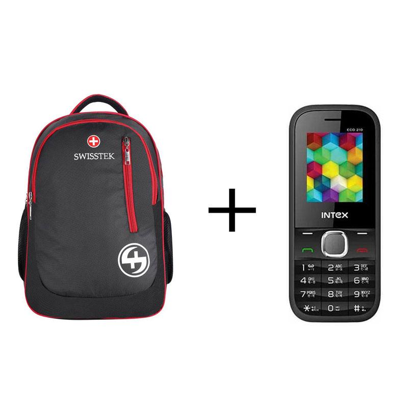 Buy Swisstek BP-017 Laptop Backpack (Black, Red) & Get Intex Eco 210 Multicolour Openbox Free