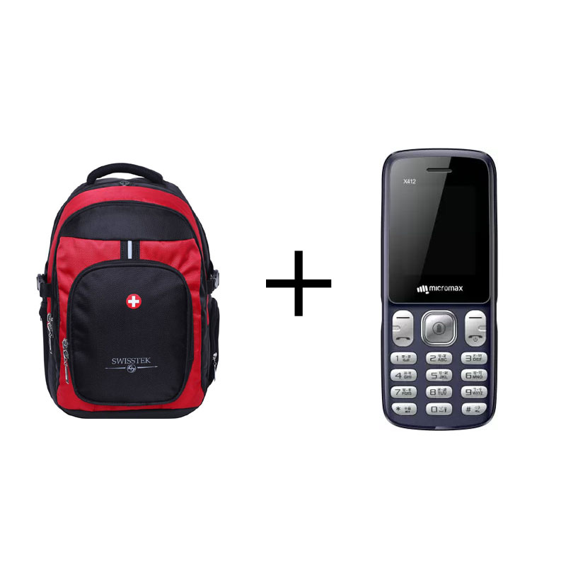 Buy Swisstek Laptop Backpack (BP-019) (Black, Red) & Get Micromax X412 Multicolour Mobile (Open Box) Free