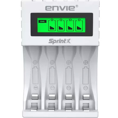 ENVIE Ultra Fast Charger ECR 11 MC | For AA & AAA Ni-mh Rechargeable Batteries | With LCD Display | 2000MA output current| Compatible with Power Banks | Car Charger | Laptop | Travel Adapter (White)