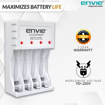 Envie Ultra Fast Charger ECR 20 MC   For AA & AAA Ni-mh Rechargeable Batteries   With LED Indicator