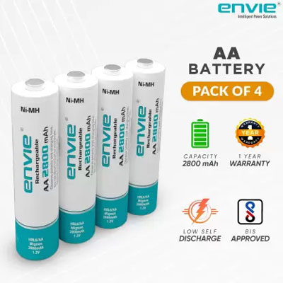 Envie Ultra Fast Charger ECR 20MC with 4 nos of AA 2800 mAh Rechargeable Batteries