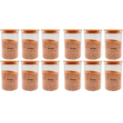 SOLOMON PREMIUM QUALITY 900ML ROUND AIRTIGHT CONTAINER PACK OF 12 (ORANGE)