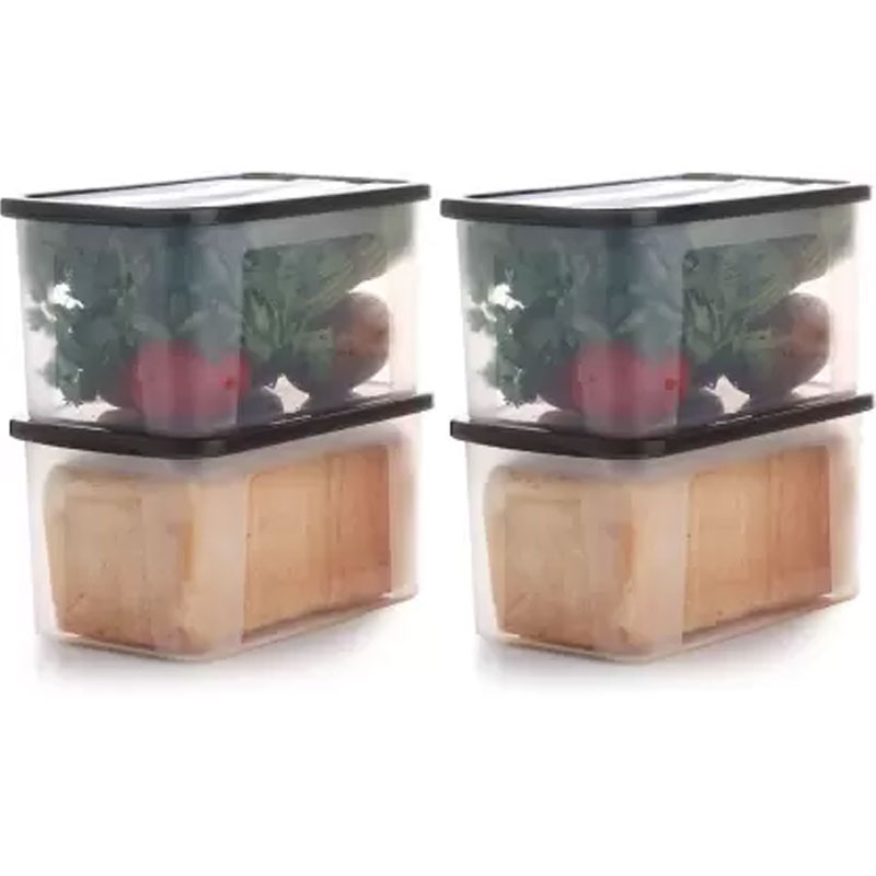 Solomon 2000ML PACK OF 4 BIG BRED Plastic Grocery Container (BROWN)