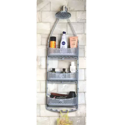 Solomon Shower Caddy 3 LAYER Plastic HANGING Wall Shelf GREY