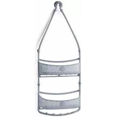 Solomon Shower Caddy 2 LAYER Plastic HANGING Wall Shelf GREY
