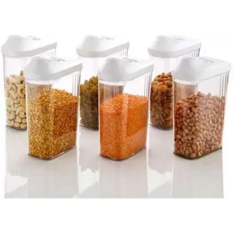 Solomon Premium Quality Easy Flow 1500ML Plastic Tea Coffee & Sugar Container PACK OF 6 (WHITE)