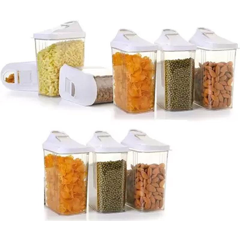 Solomon Premium Quality Easy Flow 1100ML Plastic Tea Coffee & Sugar Container PACK OF 9 (WHITE)