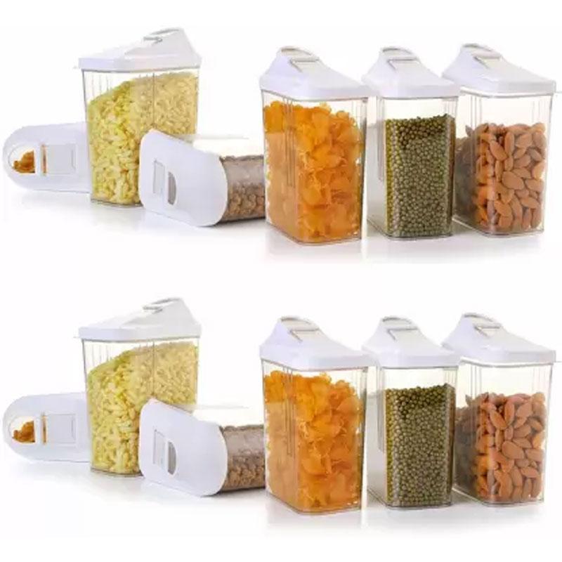 Solomon Premium Quality Easy Flow 1500ML Plastic Tea Coffee & Sugar Container PACK OF 12 (WHITE)