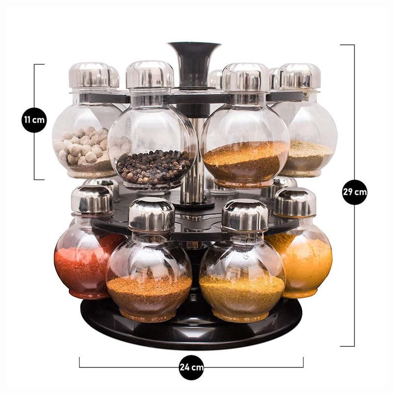 Solomon Premium Quality 360 Revolving Spice Rack (Transparent) Matuki Masala Container 1 Piece Spice Set
