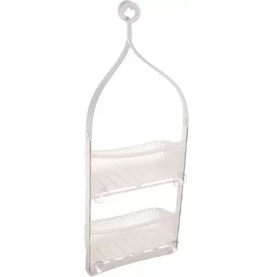 Solomon Shower Caddy 2 LAYER Plastic HANGING Wall Shelf WHITE