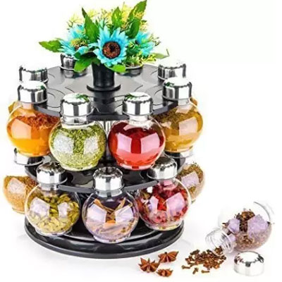 Solomon 360 Revolving Spice Rack ( Transparent) Masala Container 1 Piece Spice Set