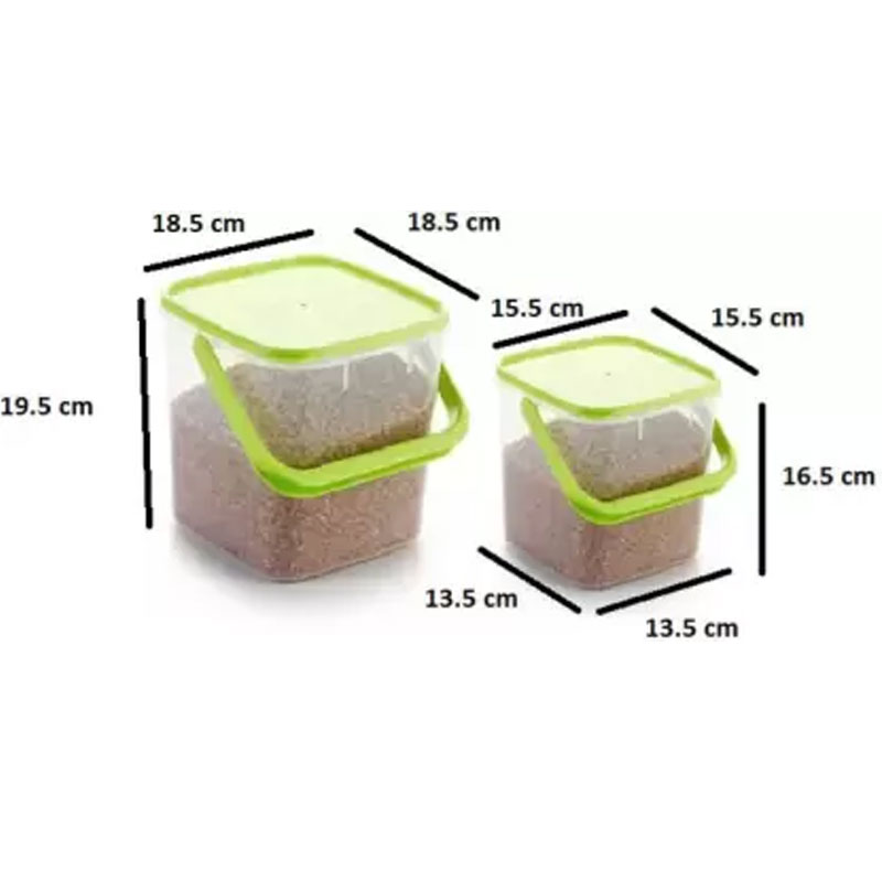 SOLOMON 3KG & 5KG SQUARE CONTAINER WITH GREEN CAP PACK OF 2
