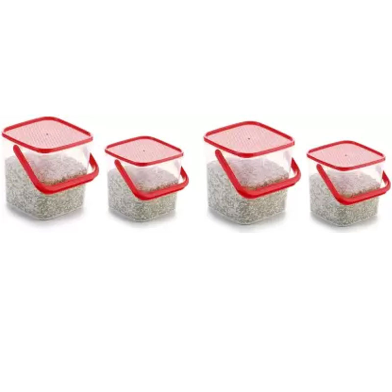 SOLOMON 3KG & 5KG SQUARE CONTAINER WITH RED CAP PACK OF 4