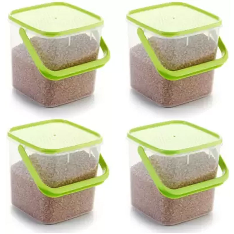 SOLOMON PACK OF 4 GREEN 3KG SQUARE CONTAINER