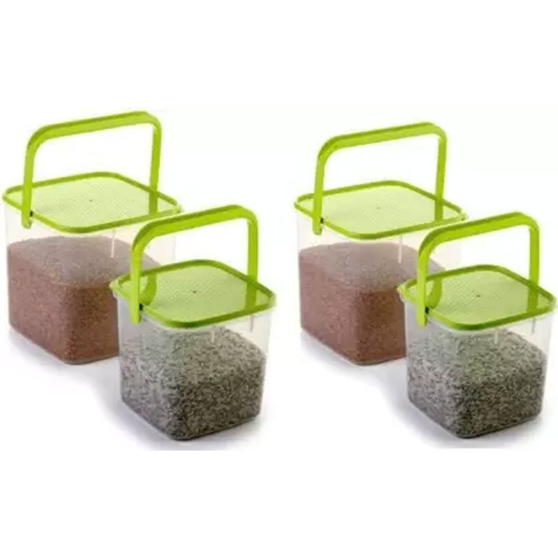 SOLOMON 3KG & 5KG SQUARE CONTAINER WITH GREEN CAP PACK OF 4